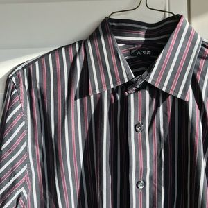 APT 9 black red and grey stripped button down
